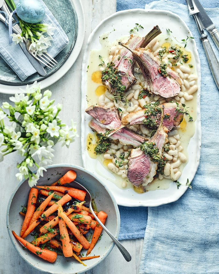 Lamb cutlets with cannellini beans, balsamic-roasted carrots and salmoriglio