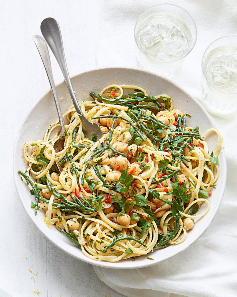 Chickpea linguine with samphire and lemon