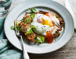 Spiced onion fritters with poached eggs