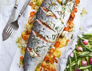 Whole roast salmon with spring vegetables