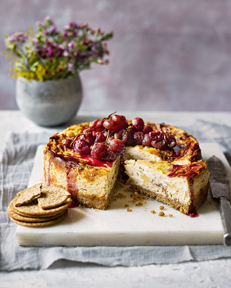 Savoury cheeseboard cheesecake with honey-roast grapes