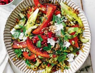 Roast squash, freekeh and feta salad