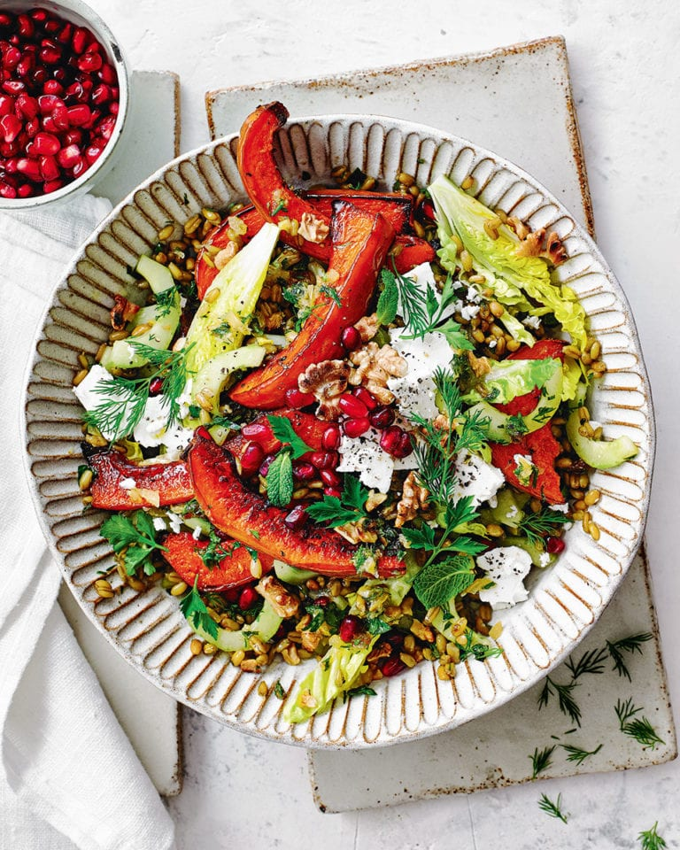 Roast squash, freekeh and feta salad