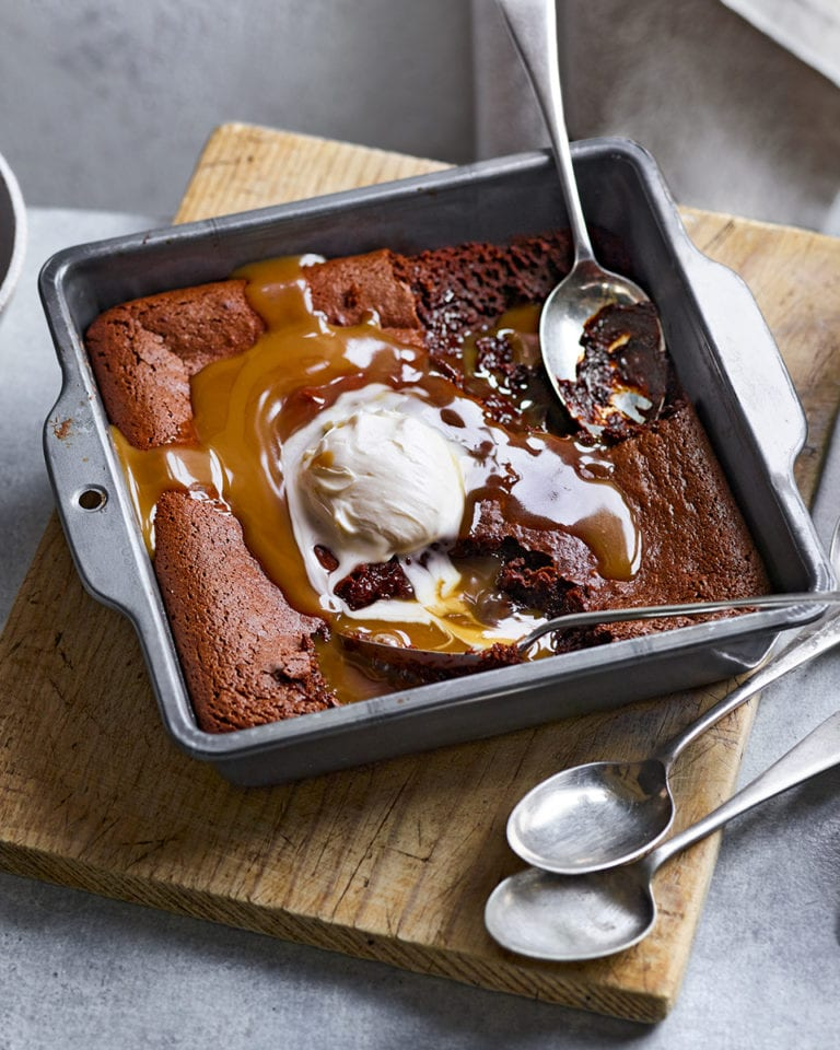 Salted caramel brownie pudding
