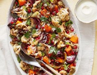 Warm za'atar-spiced cauliflower, red onion and rice salad