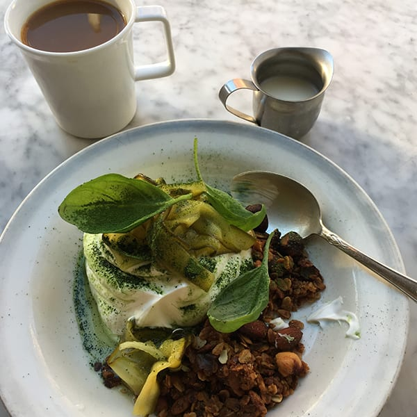 Granola with zucchini jam at Atelier September