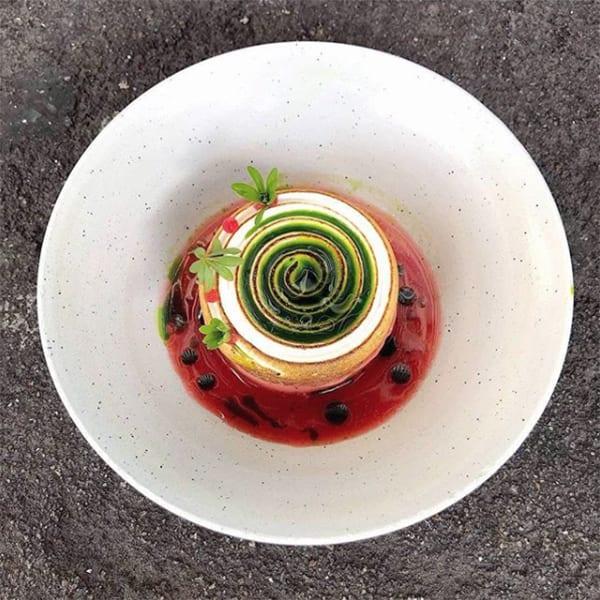 The instagram-worthy rhubarb dessert at Fiskebar