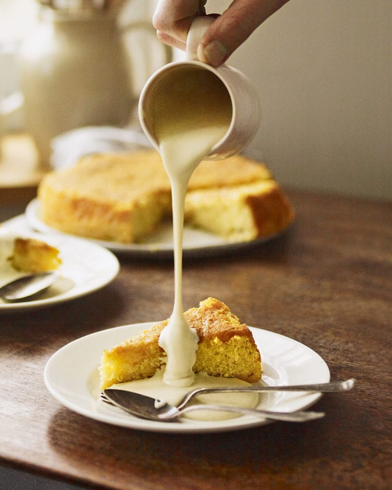 Sticky gooseberry cake with saffron and honey with custard