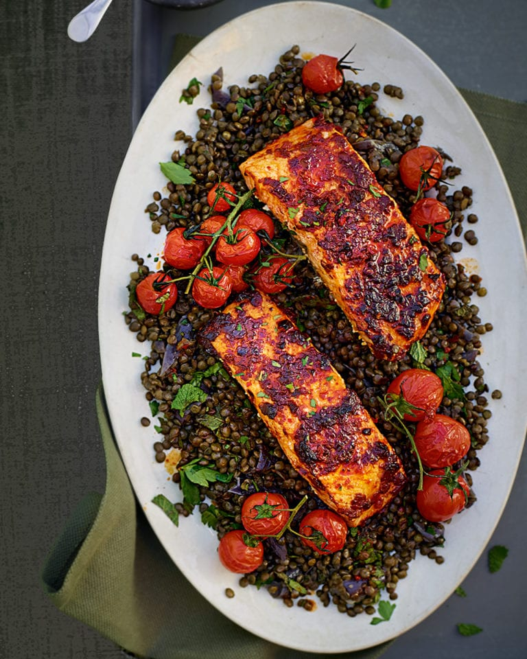 Harissa salmon with green lentils and roast cherry tomatoes