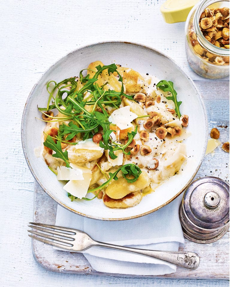 Gnocchi with roasted hazelnuts, garlic and anchovy cream