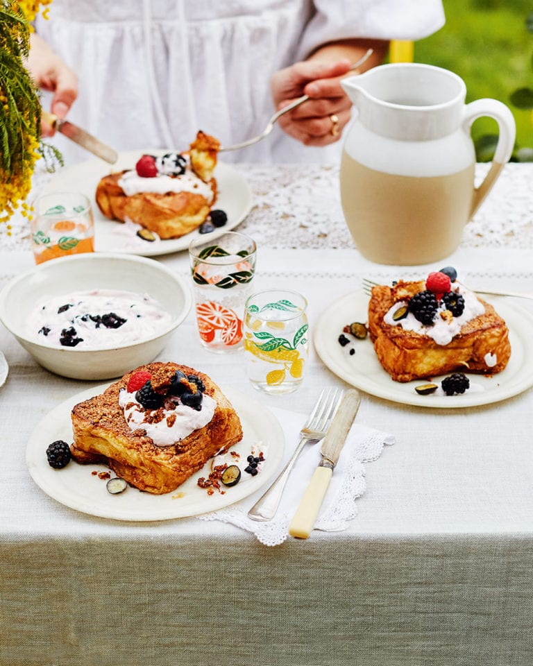 Praline pain perdu with berries
