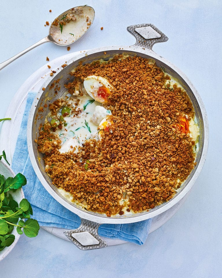 Russian-style chicken and egg pie with rye crumbs