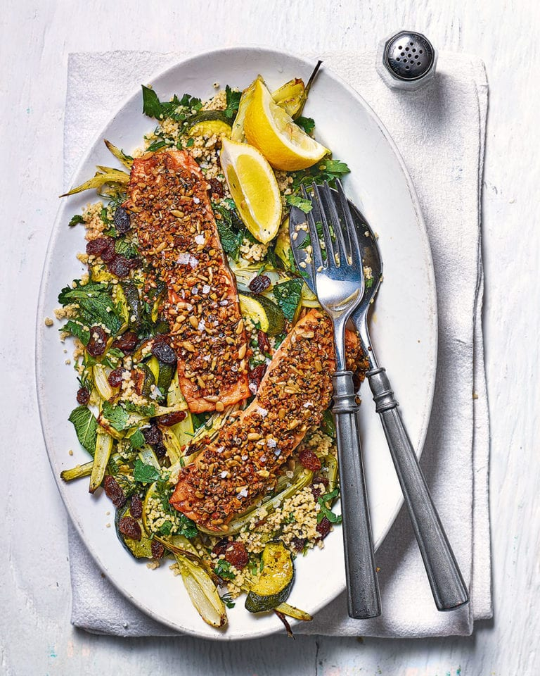 Dukkah-crusted salmon with fennel, courgette and herb couscous
