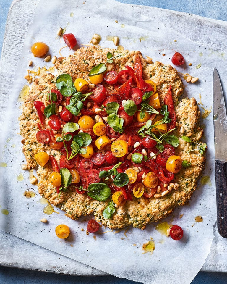 Watercress and tomato scone-based 'pizza'