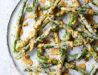 Black sesame tempura asparagus with miso mayo