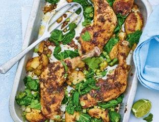 Berbere-spiced chicken, potato and greens traybake