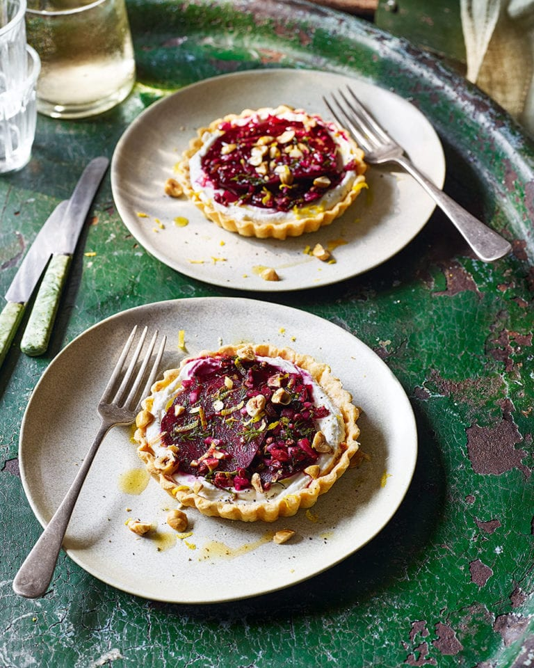 Goat's cheese, beetroot and hazelnut tarts