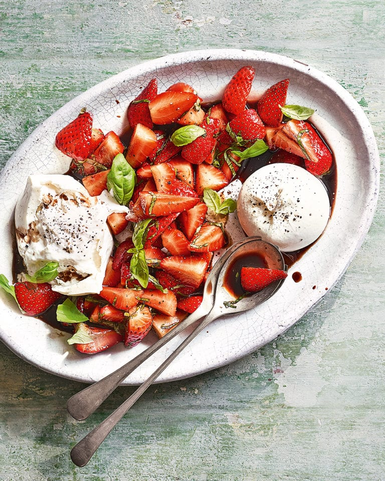 Burrata with balsamic strawberries