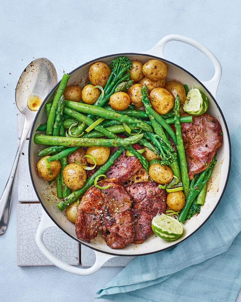 Zesty lime and anchovy lamb steaks