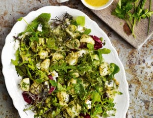 Warm new potatoes and blue cheese salad