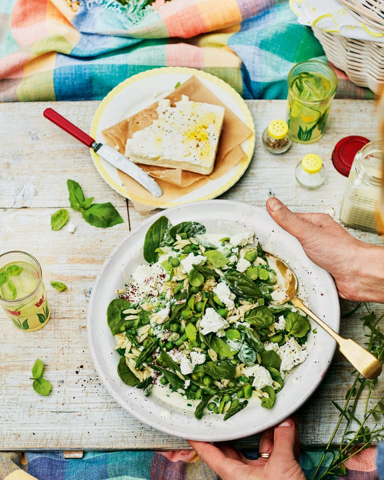 Orzo with broad beans, basil and feta