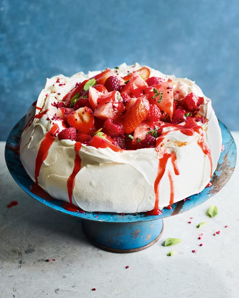 Watermelon, berry and white chocolate pavlova