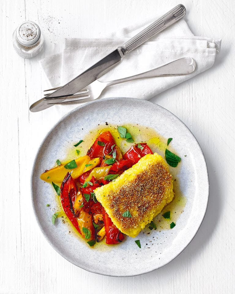 Polenta fish with roasted peppers and orange