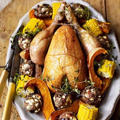 Roast chicken with chestnut stuffing