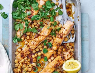 Salmon fillets with ras el hanout butter and chickpeas