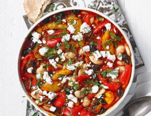 Harissa-spiced butter beans with peppers and feta