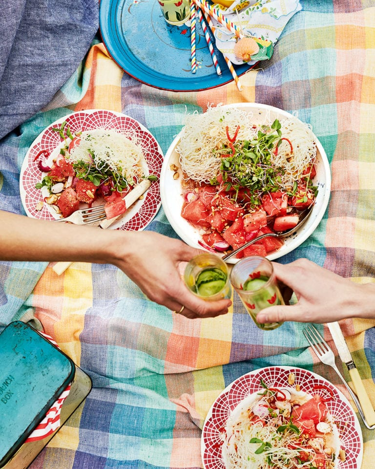 Crispy noodle, watermelon and peanut salad