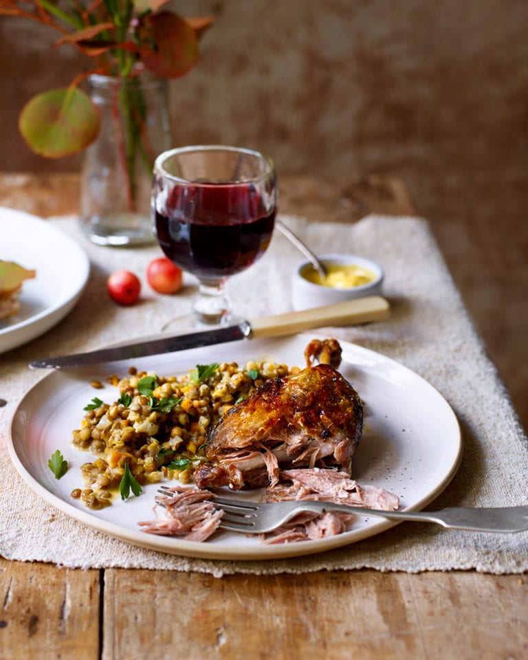 Confit duck with lentils