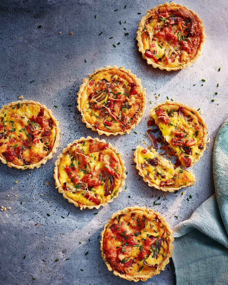 Cheese, onion and bacon tartlets