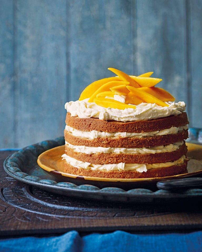 Mango, cardamom and coconut cake