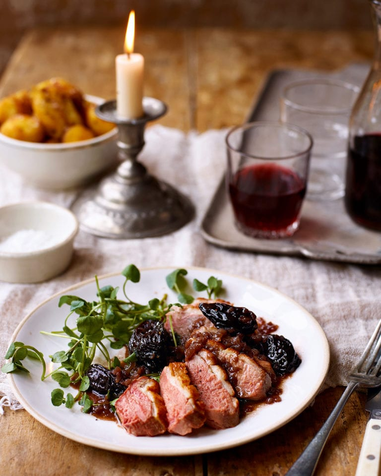 Roast duck breasts with agen prunes and armagnac