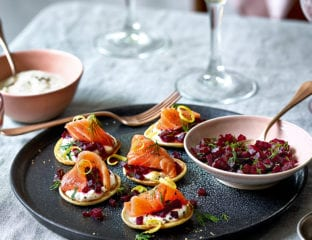 Vesper martini-cured salmon with rye blinis