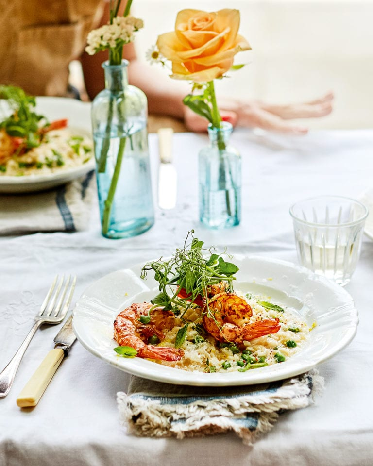 Spring prawn, pea and mint risotto
