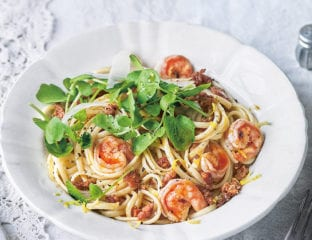 Surf and turf pasta