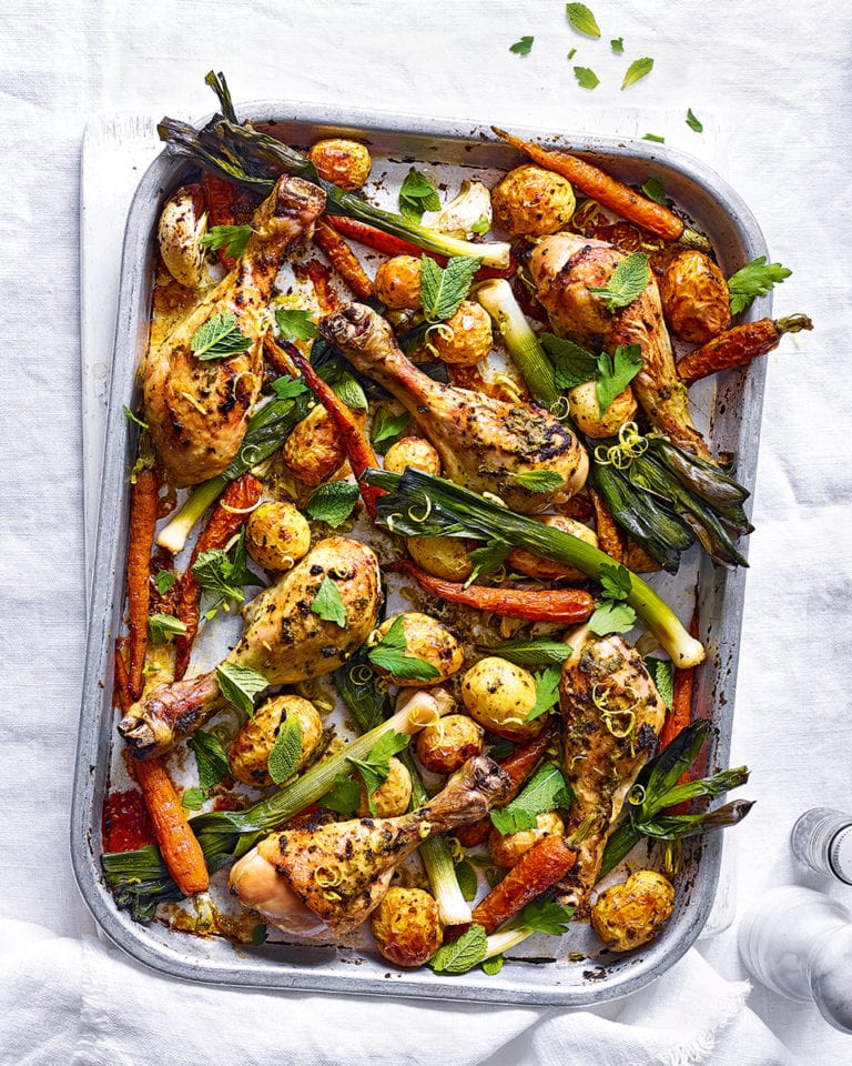 Harissa chicken, new potato and carrot traybake