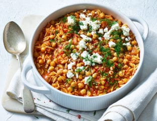 Chickpea, orzo and tomato stew with feta and dill