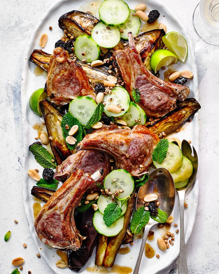 Lamb cutlets with roasted aubergine, peanuts and mint