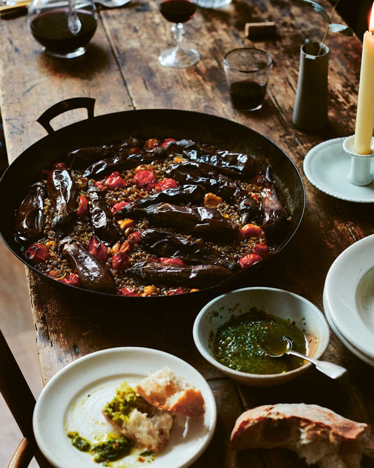 Diana Henry's butter-roast aubergines and tomatoes with freekeh and koch-kocha