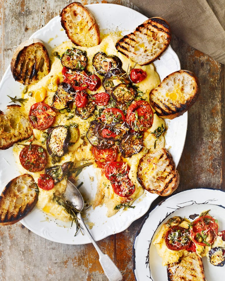 Roast tomatoes and aubergines with polenta, cheese and sourdough