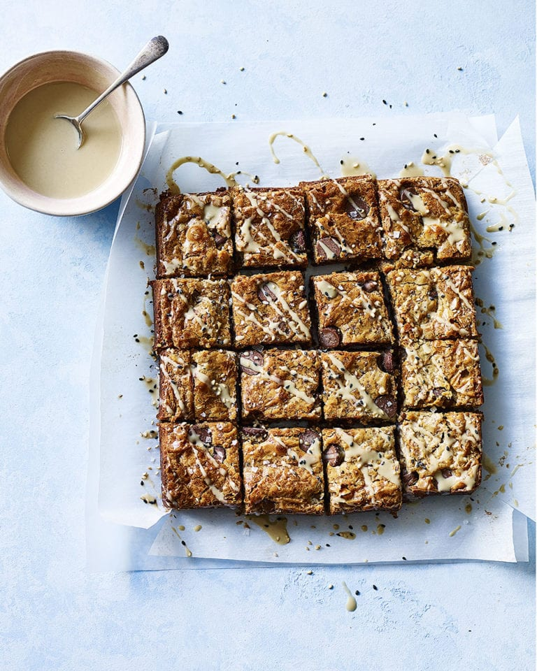 Tahini, brown butter and sea salt blondies
