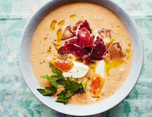 Almond salmorejo soup