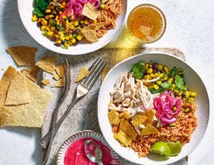 Mexican chicken and red rice burrito bowls