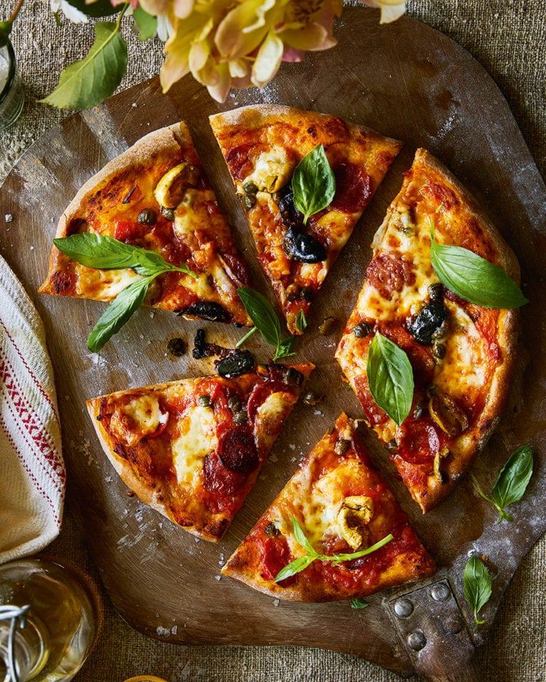 Margherita pizza with chorizo