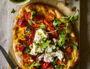 Heirloom cherry tomatoes, burrata and herb pesto pizza