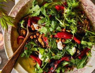 Red pepper, aubergine and crispy chickpea salad