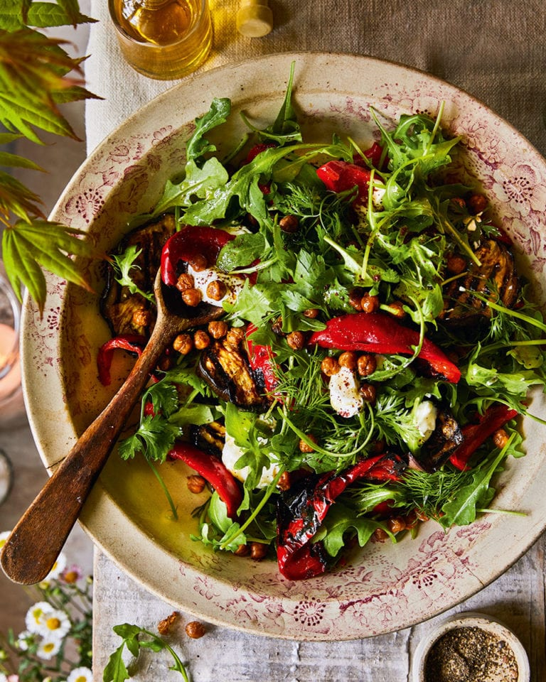 Red pepper, aubergine and crispy chickpea salad